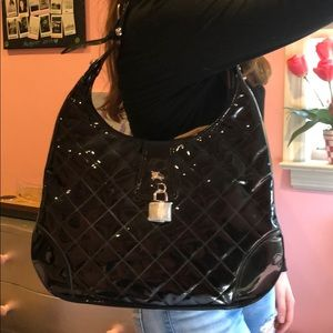 Burberry Black Paten Leather Hobo Bag